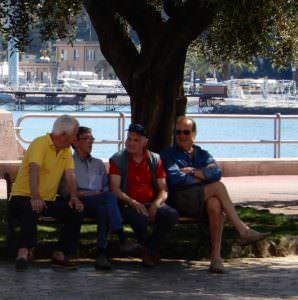 More men on a bench, Rapallo, Italy