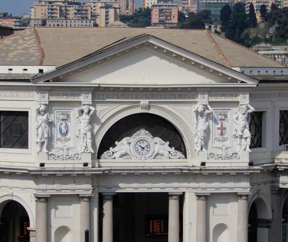 Genoa Piazza Principe Railway Station facade, Italy