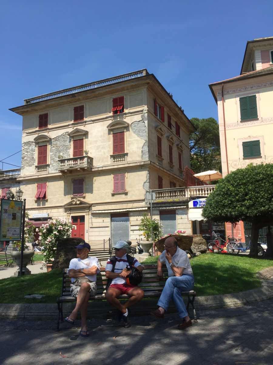 Men on a bench, Rapallo, Italy