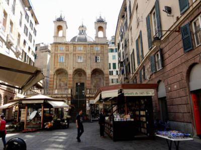 Piazza Bianchi with San Pietro, Genoa, Italy
